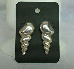 Kabana Sterling Large Screw Shell Pierced Stud Earrings