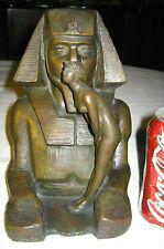 ANTIQUE ART DECO EGYPTIAN REVIVAL NUDE LADY ROMAN BRONZE WORKS SCULPTURE STATUE
