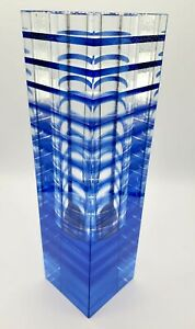Cobalt Blue Vase Kinetic Geometric Psychedelic Glass Art Tower Thick & Heavy