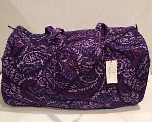 NEW Vera Bradley Large Traveler Duffel Bag Paisley Amethyst Pattern Foldable