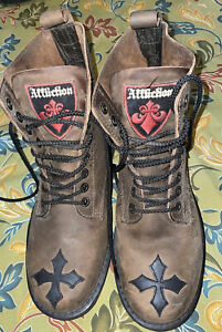 Affliction Cross Boot Brown Distressed Leather Lace Up Boots. Size 10. EUC