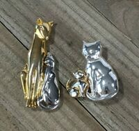 Vintage Gold & Silver Tone Art Deco Mother Cat Kitten Sitting Animal Brooch Pins