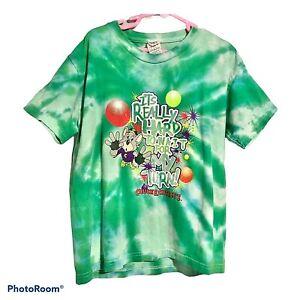 Vintage 1990s Chuck E Cheese Childrens T Shirt Green Tie Dye Youth Medium