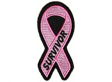 "(F6) BREAST CANCER SURVIVOR PINK RIBBON 1.5"" x 3.2"" iron on patch (4768)"