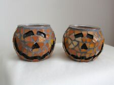F-Home Interiors Mosaic Pumpkin Tea Light Hldr Set