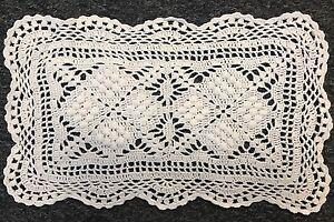 """White 6 Pcs 100% Cotton Handmade Fine Crochet Lace 8x13"""" Placemat Mat Doily"""