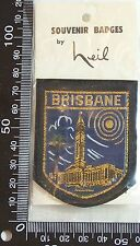 VINTAGE BRISBANE QLD HEIL EMBROIDERED SOUVENIR PATCH WOVEN CLOTH SEW-ON BADGE
