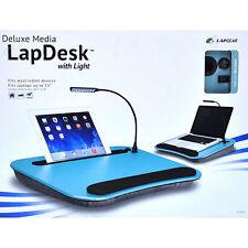 Deluxe Media Lapdesk w/Lamp Aqua