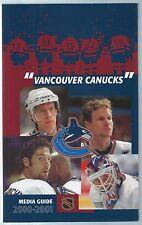 2000-01 Vancouver Canucks NHL Hockey Media Guide Felix Potvin