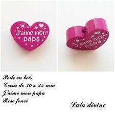 Perle en bois de 30 x 25 mm, Perle plate Coeur, J'aime mon papa : Rose foncé