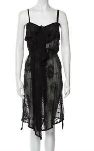 Ann Demeulemeester Black sheer silk cotton midi dress size small medium
