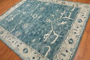 Old Hand Made Blue Traditional Parsian Oriental Style Wool Area Rug