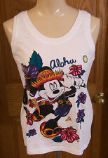 Mickey Unlimited Tank Top Aloha Design Flowers and Dancing Mickey Ladies Size S