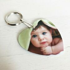 Personalised Heart Photo Keyring, Silver Double Sided Love Gift Any Image, Text