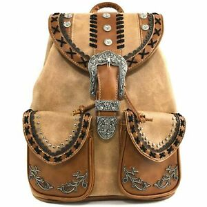 Justin West Trendy Western Rhinestone Leather Conceal Carry Top Handle Backpack