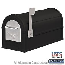 Salsbury Eagle Rural Mailbox - Black - Silver Eagle-MAILBOX 4855E-BLS NEW