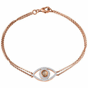 Diamond Evil Eye Bracelet 7 Inch 14k Rose Gold Double Strand Rolo Link 0.24 Ct.