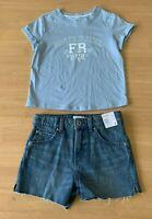 Girls size 8 light blue cotton tee & blue denim high waisted shorts Target NEW