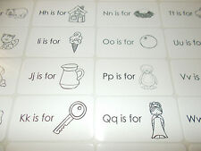 26 Alphabet Phonics Picture and Letter Preschool Laminated Flashcards. 4.25x2.25