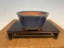 """Blue Glazed Shohin Size Tokoname Bonsai Tree Pot By Yozan 3 5/8"""""""