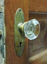 ANTIQUE ART DECO JUMBO CRYSTAL CUT GLASS BRASS DOOR KNOBS + LOCK + Back Plates