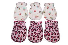 6 Cotton Newborn Baby/infant No Scratch Mittens Gloves - Ice Cream Mix Leopard