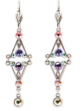 NEW ANNE KOPLIK SPARKLING DANGLE EARRINGS MULTICOLOR SWAROVSKI CRYSTALS