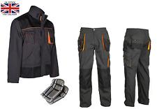 Work Trousers Mens Cargo Combat Style Heavy Duty Knee pads pockets Grey&orange