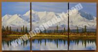 """Original Oil Painting """"Alaska Skyline"""" 24""""x 46"""" (3 Panel) Oil on Canvas"""
