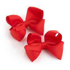 """Lot de 2 Cheveux Rouge Bow filles Clips school ruban 4"""" diapositives Accessoire Paire Pack"""