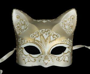 Masque de Venise Chat blanc doré florale Artisanat de Luxe Peint à la main 1946