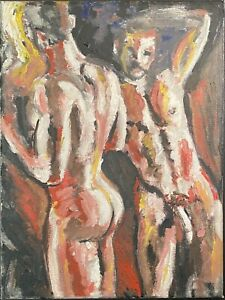 German Expressionist Oil Painting Nude Male Gay Men Erotic Sex French