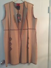 Womens Long Vest XL Reversible Leather And Suede