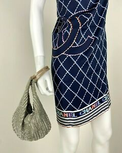 """Designer New Runway Small Gray Silver Beaded Hand Made Bag Purse Auth 8""""x 7"""""""
