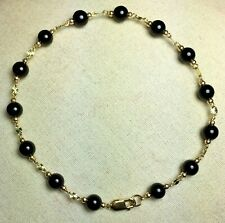 Elegant 14k solid yellow gold 7 inches long natural Black Onyx nice bracelet