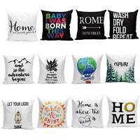 Soft Cotton Linen Pillow Cover Sofa Car Bed Waist Throw Cushion Cases Home Decor