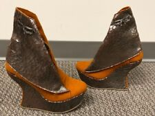 Marita Moreno Limited Brown Wedge Boots Womens Size EU 39 / US 8.5 One Of A Kind