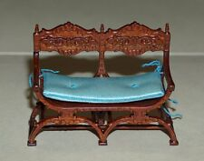 JBM 1:24 Divano gambe X noce - walnut X legs carved back settee sofa half scale