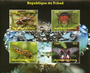 Chad Insects Stamps 2012 MNH Butterflies Butterfly Bees Flies 4 M/S