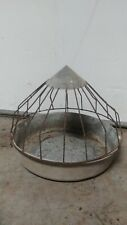 Vintage PURINA FEED RIGHT Feed Bucket Galvanized Metal Farm Light Cage Chicken 3