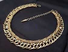 Vintage Hattie Carnegie Signed Thick Chunky Chain Necklace w/Rhinestones Gold Tn