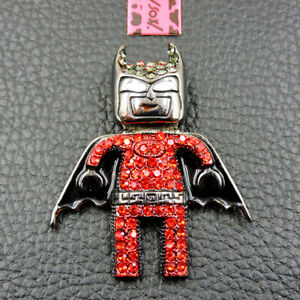 Woman's Red Crystal Enamel Cute Dark Knight Betsey Johnson Charm Brooch Pin