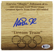 Lakers Magic Johnson Authentic Signed 6x6 Olympic Floorboard BAS Witnessed