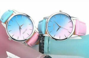 Fashion Ladies Women Two Colour Rainbow Band Ladies Analog Quartz Wrist Watch