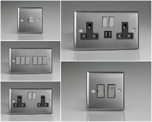 Varilight Classic Brushed Steel Range - Black Inserts & Brushed Steel Switches