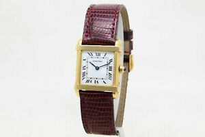 Cartier Tank Chinoise 18k Gold Ladies 22 mm Quartz Watch Ref, 8105 Box Papers