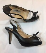 JIMMY CHOO peeptoe heels black leather slingback bow pumps platform 37 UK 4