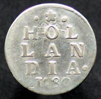 2 STUIVERS 1780 PAYS BAS / HOLLANDIA / NETHERLANDS (Argent / Silver incuse error