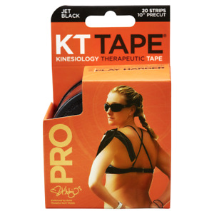 """KT TAPE PRO Synthetic Elastic Kinesiology 20 Pre-Cut 10"""" Strips Black New"""