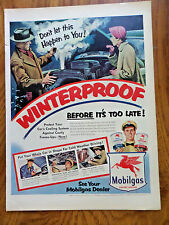 1953 Mobil Oil Gas Ad  Winterproof before it's Too Late